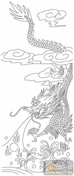 龙 白描图 龙王闹海 long107 中国白描龙图片
