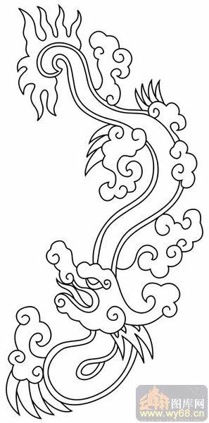 龙白描图案,龙线描图,龙图        上一页:龙-白描图-飞龙乘云-long58