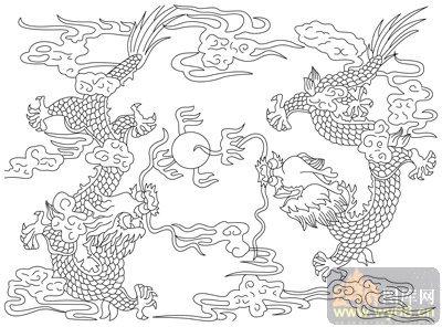 龙 白描图 二龙戏珠 long127 中国白描龙图片