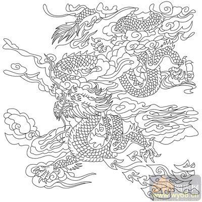 龙 白描图 飞龙乘云 long133 传统龙图案图片