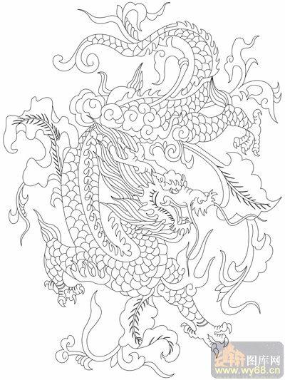 龙 白描图 飞龙在天 long84 龙线描图图片