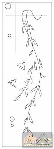 柳枝和鸟-线描图,白描图,云峰轩雕刻图库网