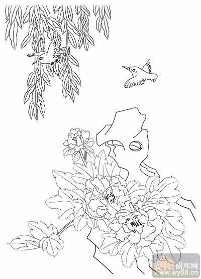 铅笔画-牡丹上色工笔插画