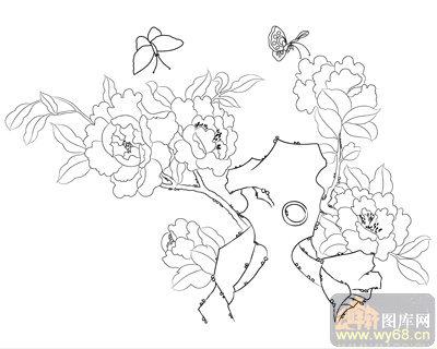 牡丹白描图,牡丹线描图,牡丹图        上一页:工笔白描牡丹画-蝶恋花