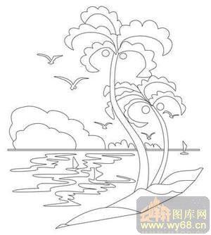 松树-线描图,白描图,云峰轩雕刻图库网
