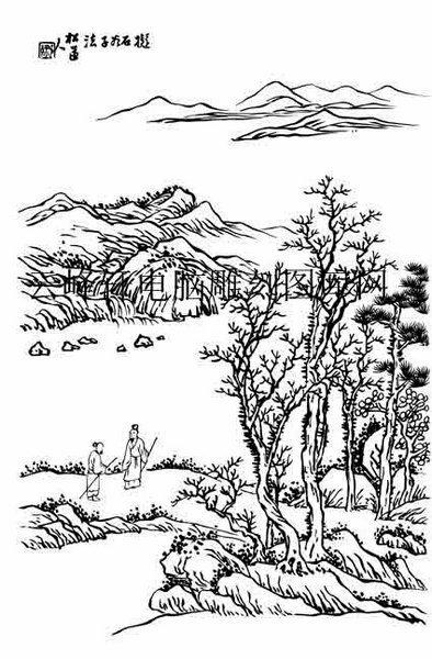 09年3月1日第一版画山水-白描图-独坐幽篁-17-山水白描线描图