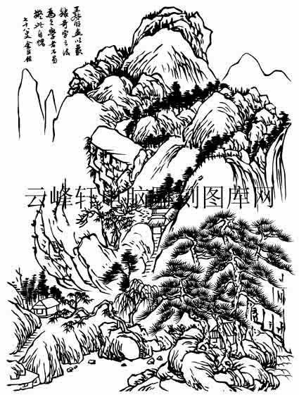 09年3月1日第一版画山水-白描图-石径斜-11-山水线描图