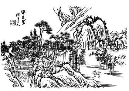 09年3月1日第一版画山水-白描图-山中樵夫-18-山水图