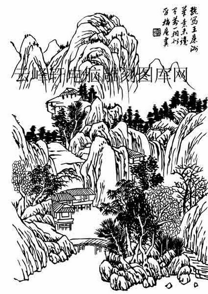 09年3月1日第一版画山水-白描图-烟拂云梢-8-山水国画