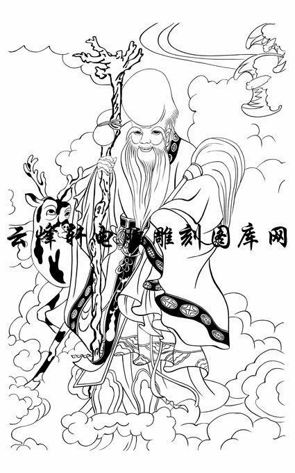 首页 国画白描画线描图系列 中国传统神仙,吉祥神,门神,寿星,土地神