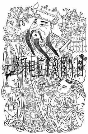 中国传统神话人物仙人-白描图-吉祥神-神话人物仙人