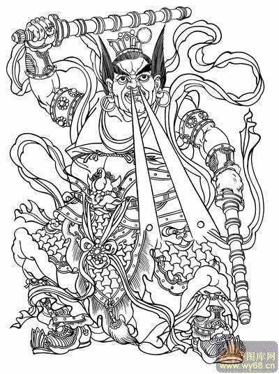 国画白描画线描图系列 中国传统神仙,吉祥神,门神,寿星,土地神,财神