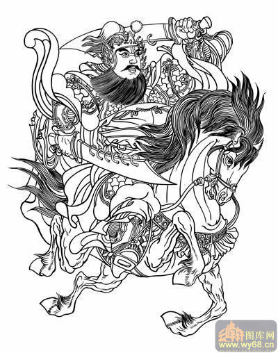 中国传统神话人物仙人-白描图-宝马神仙-10-神话人物仙人白描线描图
