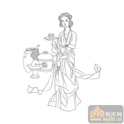 白描 工笔人物 古代仕女 古典 国画 画家 绘画 美丽 美女 美术 白描图片