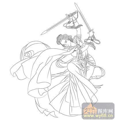 古装美女舞剑手绘图