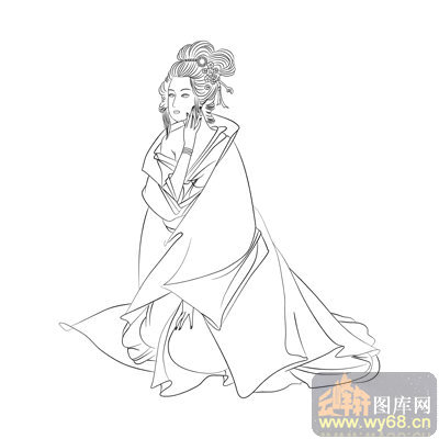 路径古代仕女1 白描图 闭月羞花 古典人物061 中国国画白描仕女图片