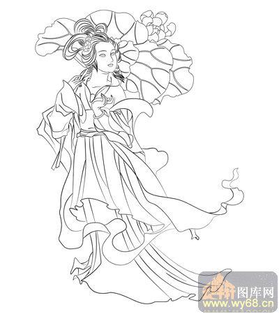 路径古代仕女1-白描图-环肥燕瘦-古典人物054-国画仕女图片-白描古代图片