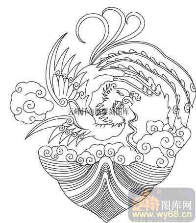 100个中国传统吉祥图-白描图-凤凰-b-033-凤凰线描图