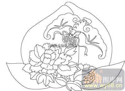 100个中国传统吉祥图-白描图-蝙蝠-b-065-中国传统吉