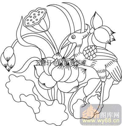 100个中国图片吉祥图-校园图-荷花-b-040-荷花白描线描图小学传统欺凌致v图片国画图片