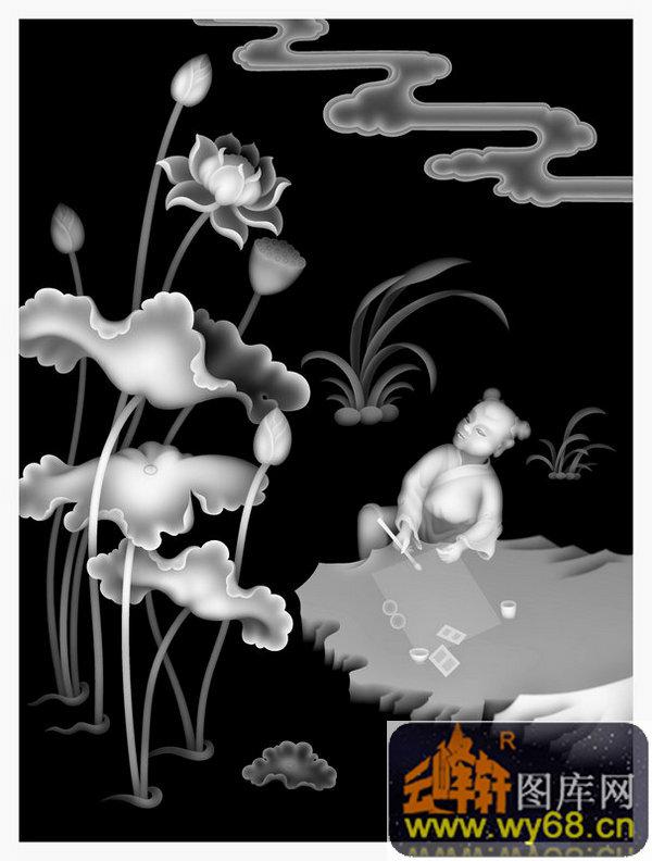 花纹-木雕灰度图                                            荷花
