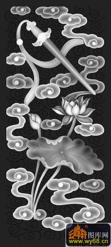 扇子 剑 花纹-玉石灰度图