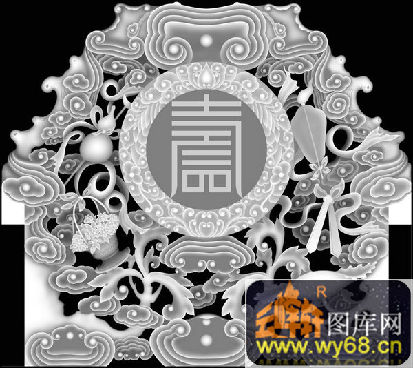 花纹 云-欧式洋花浮雕灰度图