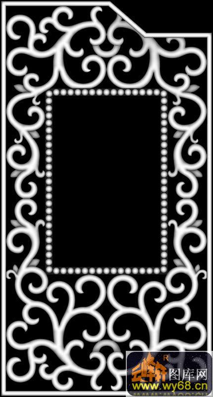 花纹 花钩 边框-欧式洋花浮雕灰度图