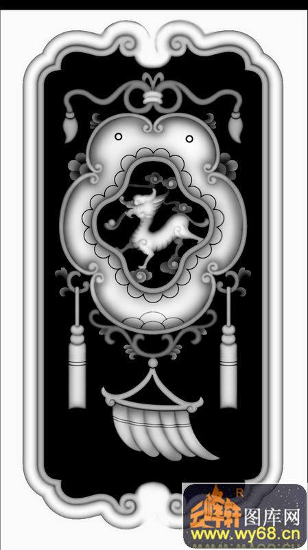 吊饰 花纹 麒麟-浮雕灰度图