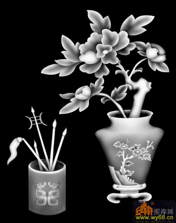 牡丹花 花瓶-灰度雕刻图