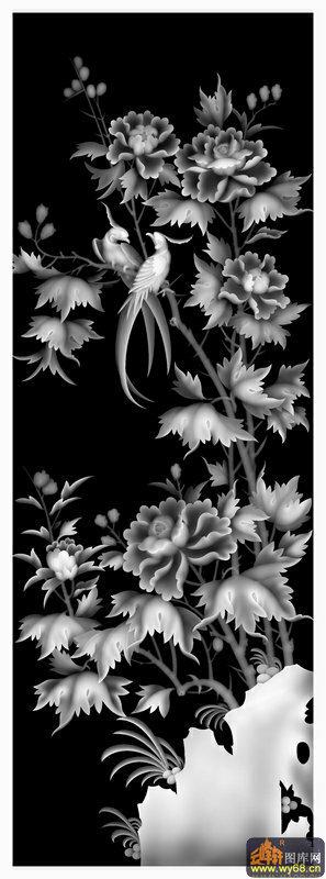 芙蓉花 鸟-欧式洋花浮雕灰度图