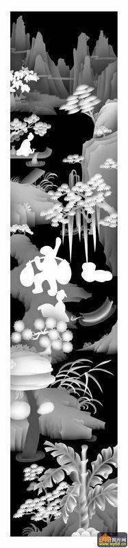山水 房屋 人物-灰度图库素材