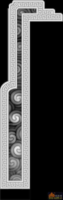 回纹边框-灰度图库素材
