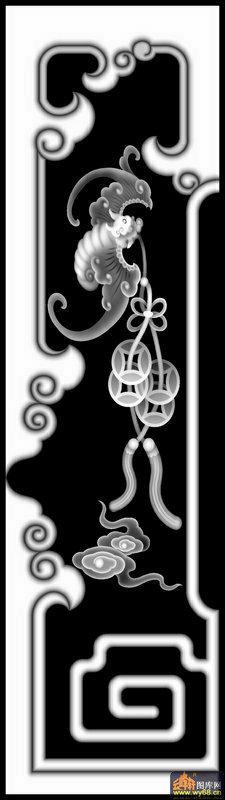 蝙蝠 云 花纹-电脑雕刻图