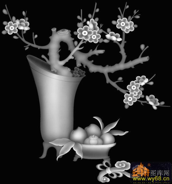 梅花 鸟-木雕灰度图