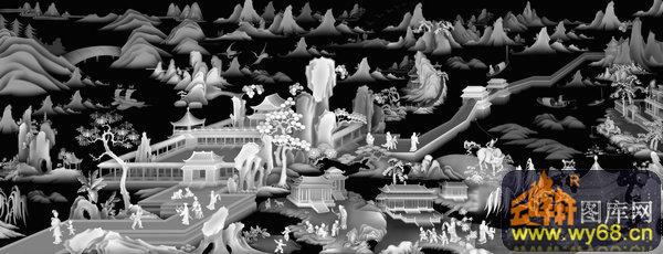 山水 房屋 人物-木雕灰度图