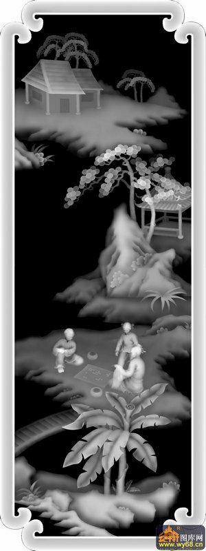 山水 房屋 人物 下棋-木雕灰度图