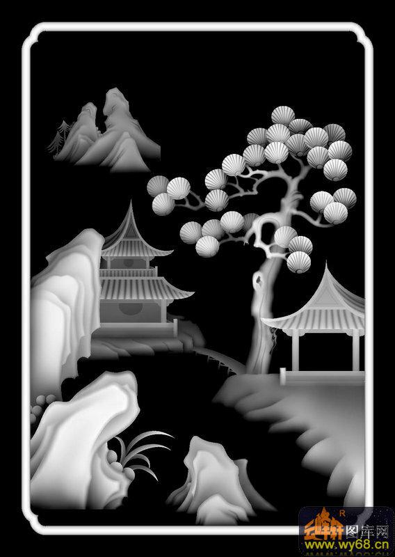 山水 松树 房屋-玉石灰度图