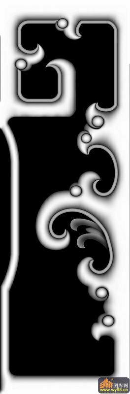 花纹 云纹-木雕灰度图