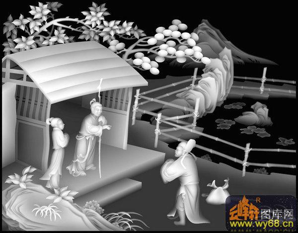 山水 树 房屋 人物-浮雕灰度图