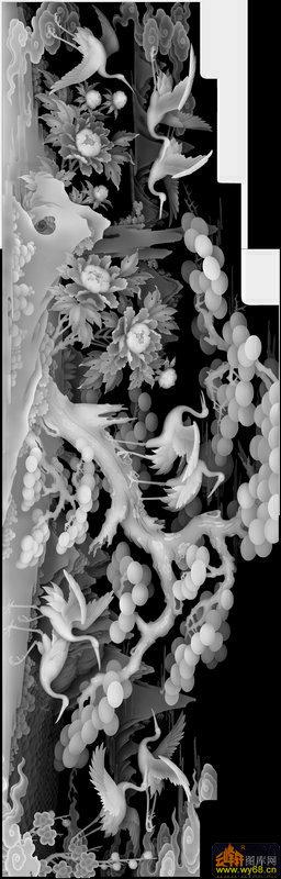松树 花 仙鹤-灰度浮雕