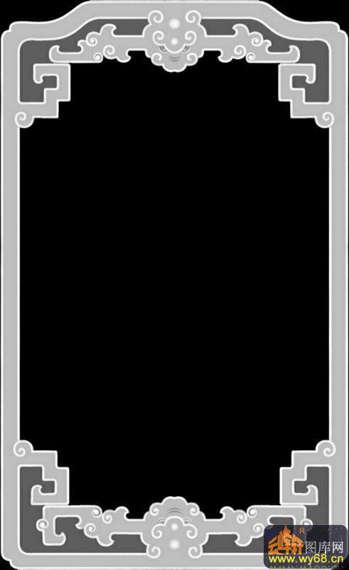 花纹边框-木雕灰度图