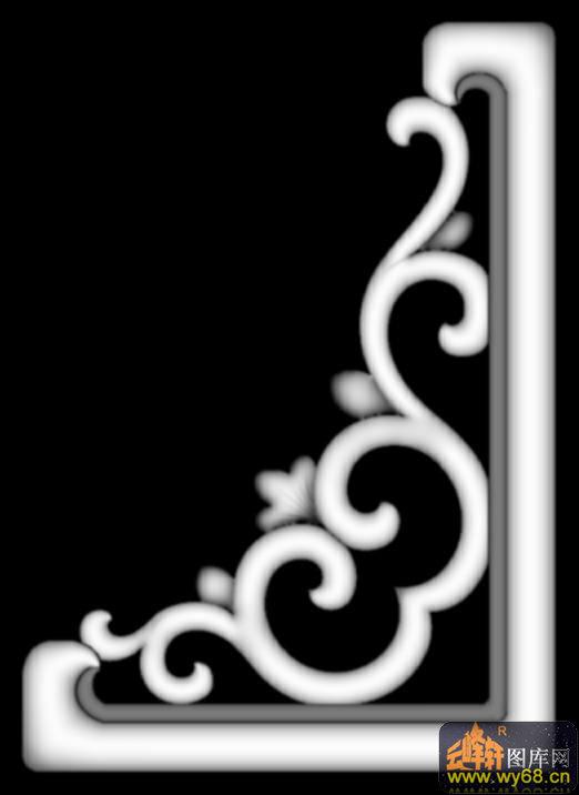 花纹 花钩 三角-灰度浮雕
