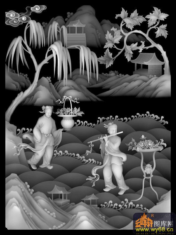 山水 树 人物 花篮-木雕灰度图