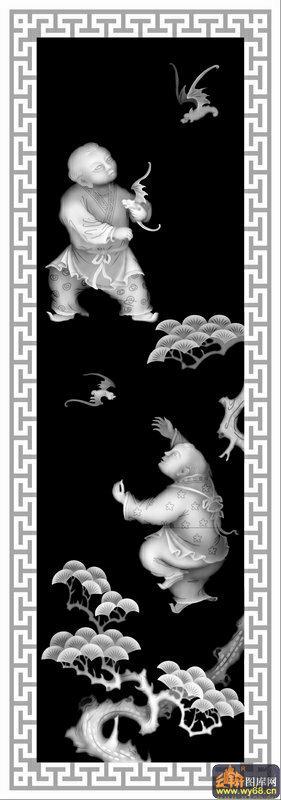 童子 蝙蝠 松树 t纹边-浮雕图案