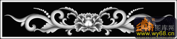 花纹 花钩-欧式洋花浮雕灰度图