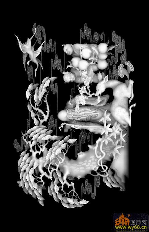 松树 寿星 仙鹤 童子 桃-精雕灰度图