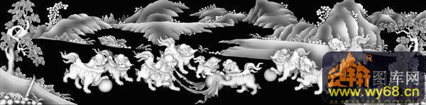 山水 树 狮子-灰度图库素材
