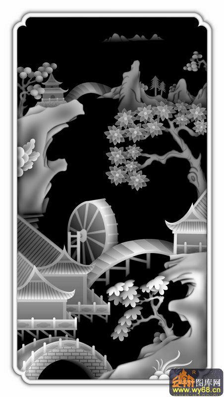 山水 船 人物 树-浮雕灰度图