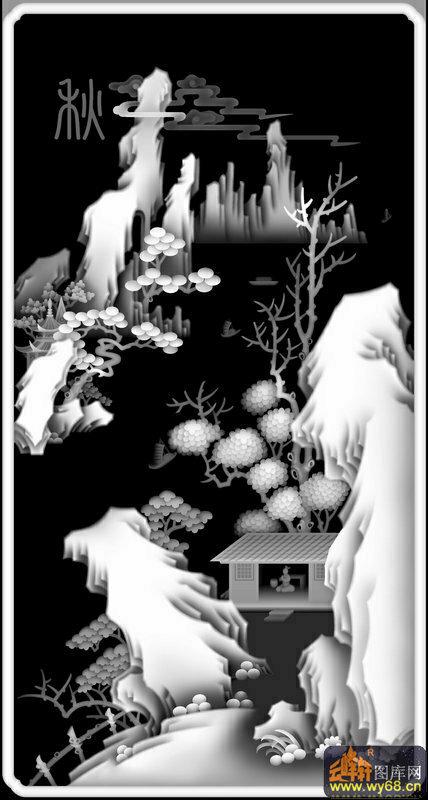 山水 松树 房屋 秋-灰度雕刻图
